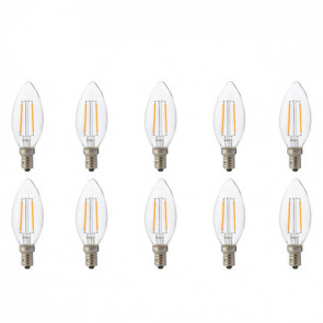 LED Lamp 10 Pack - Kaarslamp - Filament - E14 Fitting - 4W - Warm Wit 2700K