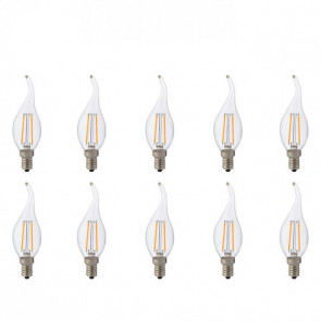 LED Lamp 10 Pack - Kaarslamp - Filament Flame - E14 Fitting - 2W - Warm Wit 2700K
