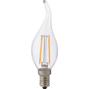 LED Lamp - Kaarslamp - Filament Flame - E14 Fitting - 2W - Warm Wit 2700K