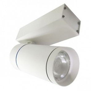 LED Railverlichting - Track Spot - Facto - 30W 3 Fase - Rond - Warm Wit 3000K - Mat Wit Aluminium