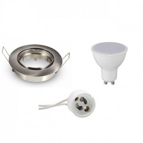 LED Spot Set - Aigi - GU10 Fitting - Inbouw Rond - Mat Chroom - 8W - Warm Wit 3000K - Kantelbaar Ø82mm