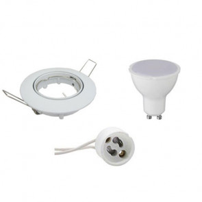 LED Spot Set - GU10 Fitting - Inbouw Rond - Glans Wit - 4W - Helder/Koud Wit 6400K - Kantelbaar Ø80mm