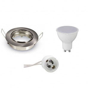 LED Spot Set - GU10 Fitting - Inbouw Rond - Mat Chroom - 4W - Helder/Koud Wit 6400K - Kantelbaar Ø90mm
