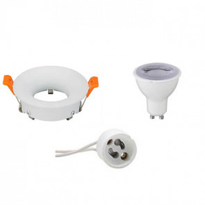 LED Spot Set - GU10 Fitting - Dimbaar - Inbouw Rond - Mat Wit - 6W - Warm Wit 3000K - Ø85mm