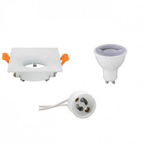 LED Spot Set - GU10 Fitting - Dimbaar - Inbouw Vierkant - Mat Wit - 6W - Warm Wit 3000K - 85mm