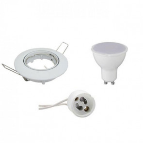 LED Spot Set - GU10 Fitting - Inbouw Rond - Glans Wit - 8W - Warm Wit 3000K - Kantelbaar Ø90mm