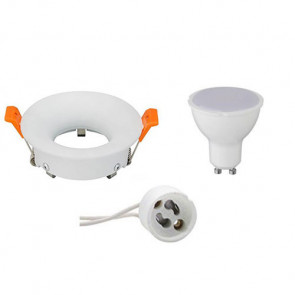 LED Spot Set - GU10 Fitting - Inbouw Rond - Mat Wit - 4W - Helder/Koud Wit 6400K - Ø85mm