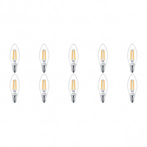 PHILIPS - LED Lamp Filament 10 Pack - Classic LEDCandle 827 B35 CL - E14 Fitting - Dimbaar - 5W - Warm Wit 2700K | Vervangt 40W