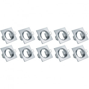 Spot Armatuur 10 Pack - Trion - GU10 Fitting - Inbouw Vierkant - Glans Chroom Aluminium - Kantelbaar 80mm